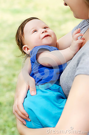 Baby boy in mother s hands