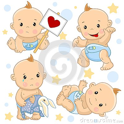 Baby boy 2 part. Vector Illustration