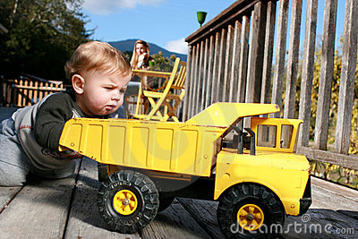 Baby Boy Playing with Truck