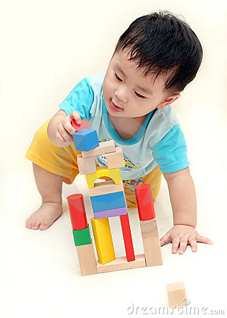 Free Baby Boy Playing Wooden Blocks Royalty Free Stock Images - 8587939