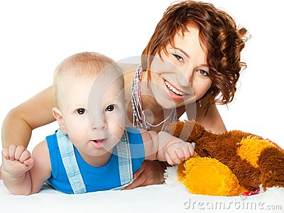 Baby boy with pretty mother