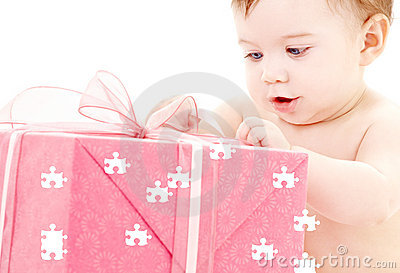 Baby boy with puzzle gift box
