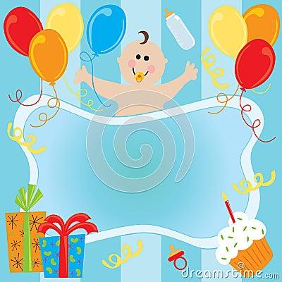 Baby boy s birthday invitation