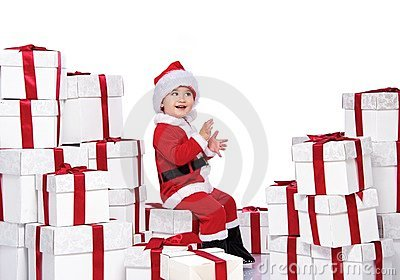 Baby boy in Santa Claus costume