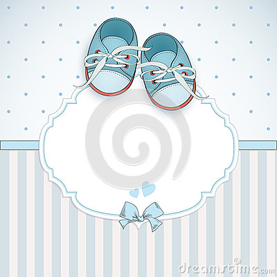 Baby boy shower card Vector Illustration