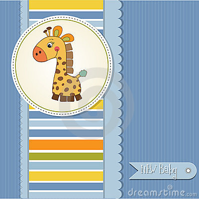 Baby boy shower card with giraffe toy