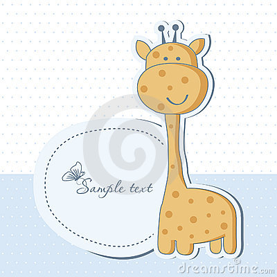 Free Baby Boy Shower Card With Giraffe Stock Photography - 20777272