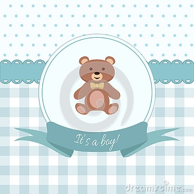 Free Baby Boy Shower Or Arrival Card With Teddy Bear. Flat Design Stock Image - 126660101