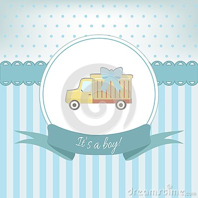 Free Baby Boy Shower Or Arrival Card With Truck Toy. Flat Design Royalty Free Stock Photo - 126660105