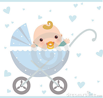 Baby boy sitting in carriage