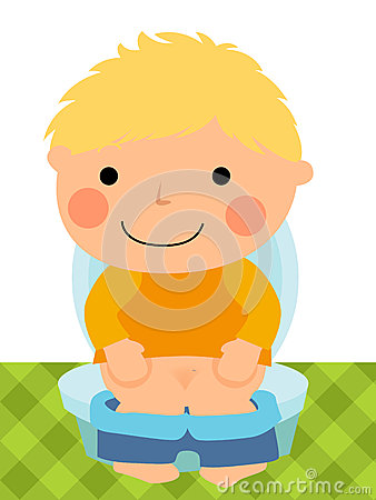 Baby boy sitting on the toilet