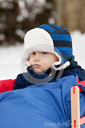 Baby boy on a sledge