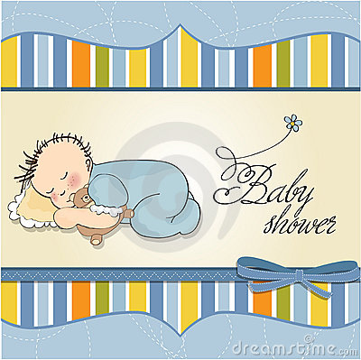 baby boy sleep with his teddy bear toy
