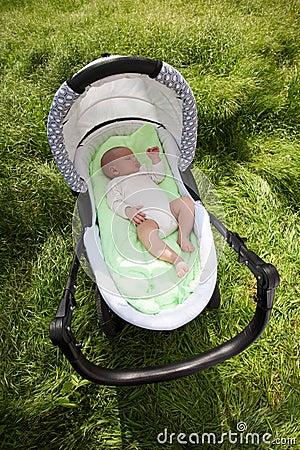 Free Baby Boy Sleeping In The Pram Outdoors Royalty Free Stock Photos - 28906648