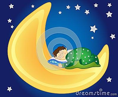 Baby boy sleeping on the moon