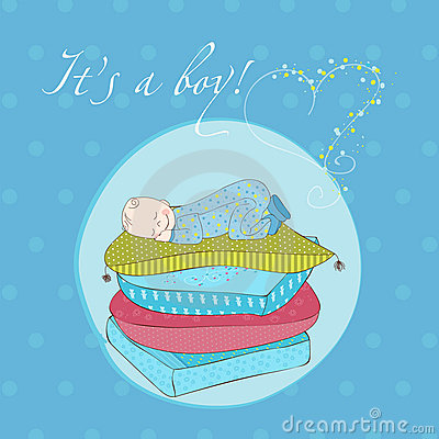 Baby Boy Sleeping on Pillows Card