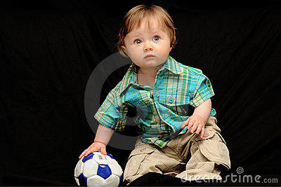Baby boy with soccer ball