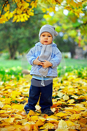 Baby boy stands among leaves in autumn park