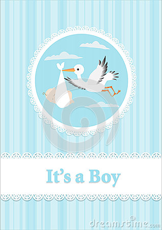 Baby Boy and stork