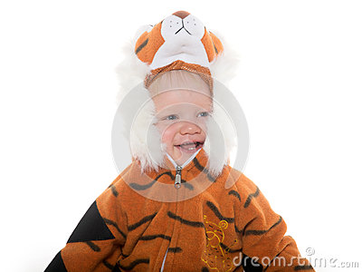 Baby boy in tiger costume