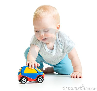 Free Baby Boy Toddler Playing With Toy Car Royalty Free Stock Photo - 46200445