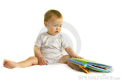 Baby boy with toy-book