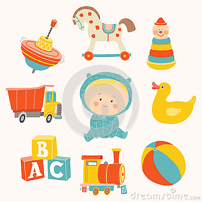 Baby boy with toys : ball, blocks, rubber duck, rocking horse, toy train, pyramid, spinning top, toy truck. Vector Illustration