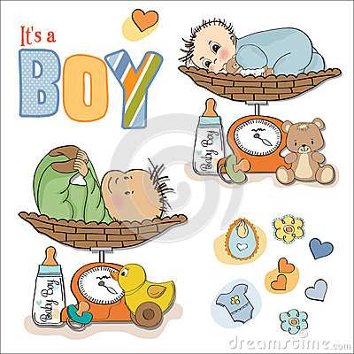 Baby boy weighed on the scale, items set