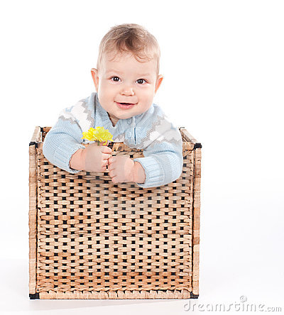 Baby boy in wicker basket with flower on white