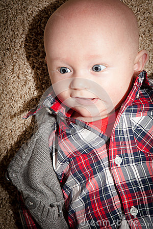 Free Baby Boy With Big Blue Eyes Royalty Free Stock Image - 36518876