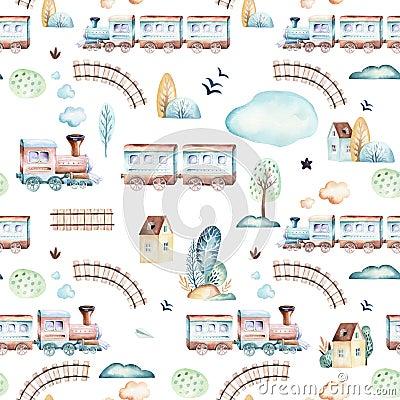 Free Baby Boys World. Cartoon Airplane, Plane And Waggon Locomotive Watercolor Illustration Pattern. Child Toys Birthday Royalty Free Stock Image - 119276246