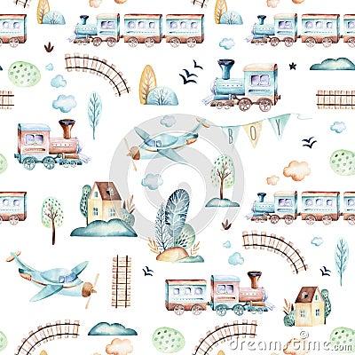 Free Baby Boys World. Cartoon Airplane, Plane And Waggon Locomotive Watercolor Illustration Pattern. Child Toys Birthday Royalty Free Stock Photo - 119277455