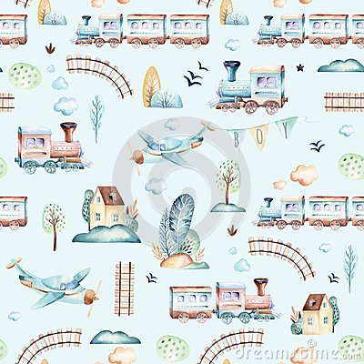 Free Baby Boys World. Cartoon Airplane, Plane And Waggon Locomotive Watercolor Illustration Pattern. Child Toys Birthday Stock Image - 119277681