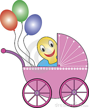 Baby buggy, soother, balloons