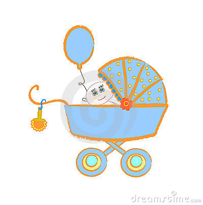 Baby buggy. Vector illustration on white backgroun