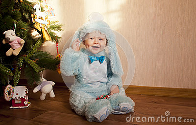 Baby in bunny costume