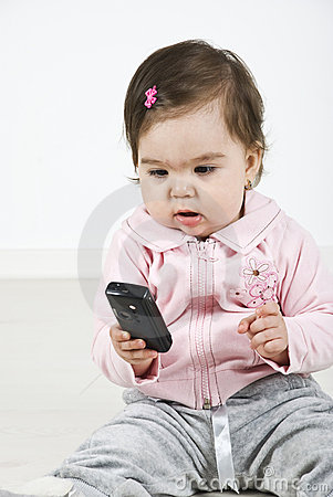 baby calling by mobile phone stock photos image 14090303