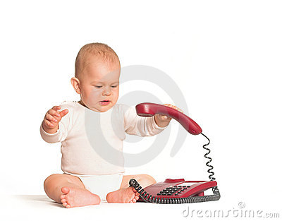 Baby calls on phone