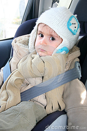 Baby in car seat for safety