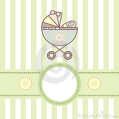 Baby card with cradle