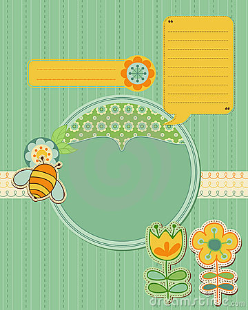 Free Baby Card With Bee And Flowers Royalty Free Stock Photos - 21870448