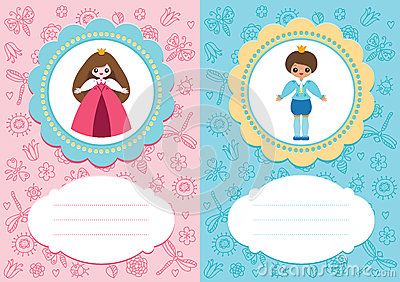 Baby cards with prince and princess