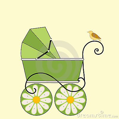 Baby Carriage  and bird