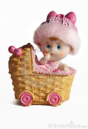 Baby Carriage Ceramic Toy