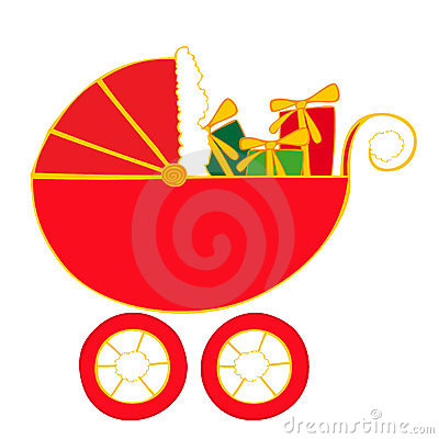 Baby carriage with christmas presents.