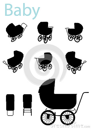 Baby Carriage Silhouette set