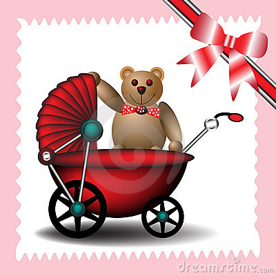 Baby carriage with teddy bear