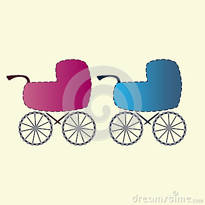Baby carriages for boys and girls Icons Vector Illustration