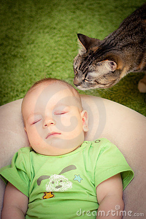 Baby and a cat