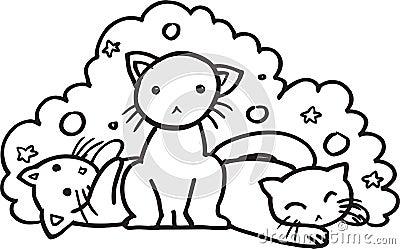 Baby cats - BW illustration
